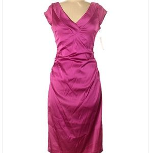 Maggy London Pink Satin Dress Size 8 NWT